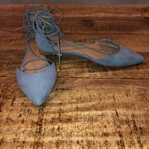 Flat pointed lace up Flats